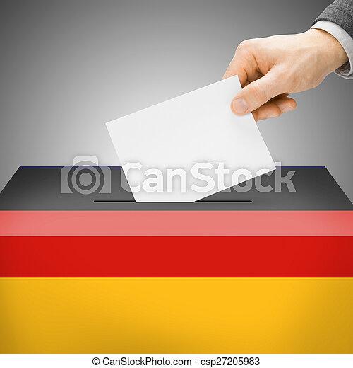 Ballot box painted into national flag - Germany - csp27205983