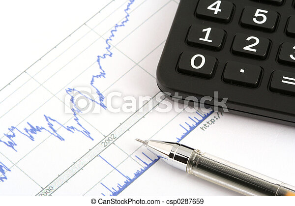 ballpoint pen and calculator on print stock chart - csp0287659