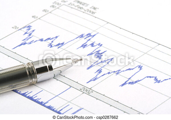 Ballpoint Pen on Stock Chart - csp0287662