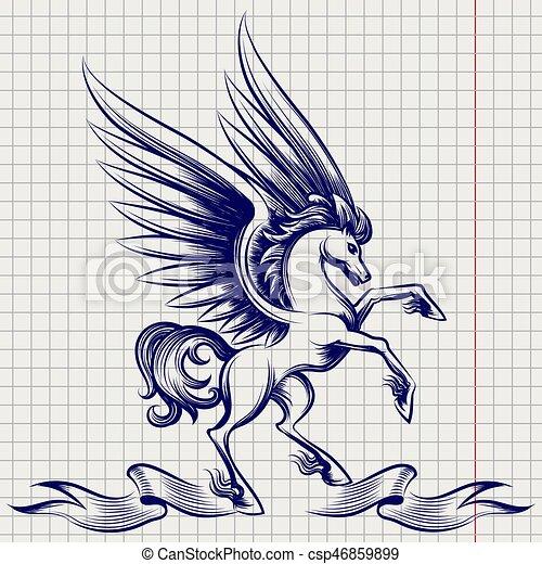 Ballpoint pen sketch of Pegasus
