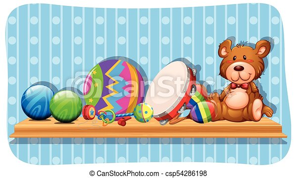 Balls and other toys on the shelf - csp54286198