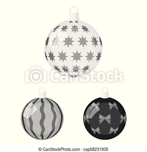 Balls for decoration monochrome icons in set collection for design. Christmas balls vector symbol stock web illustration. - csp58231935