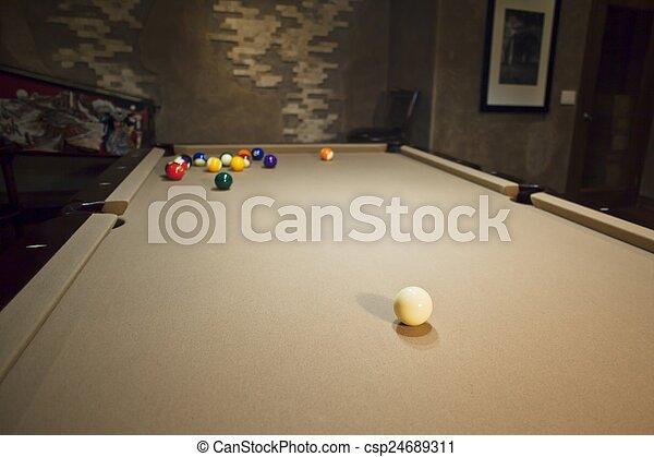 balls on pool table - csp24689311