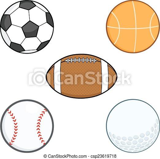 balls., sport, komplet, rysunek, zbiór - csp23619718