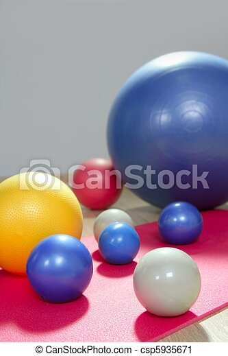 balls stability and toning pilates sport gym yoga mat - csp5935671