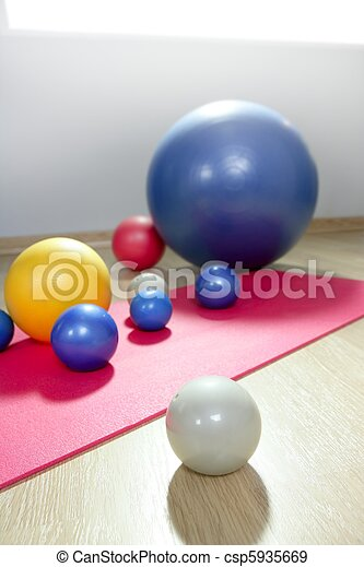 balls stability and toning pilates sport gym yoga mat - csp5935669