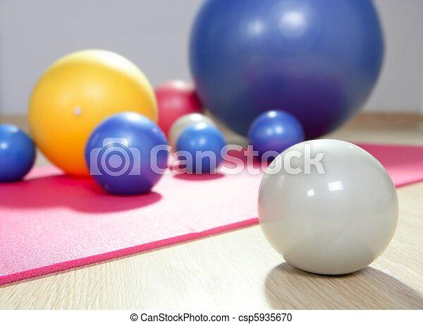 balls stability and toning pilates sport gym yoga mat - csp5935670