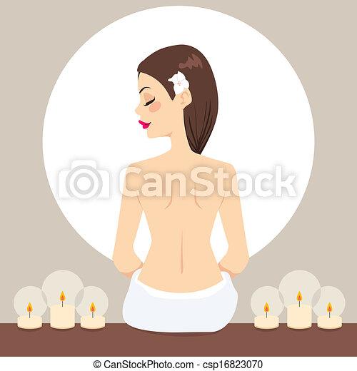 Mujer Spa relajando velas - csp16823070
