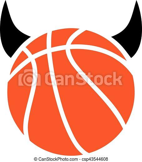 Baloncesto con cuernos de diablo - csp43544608