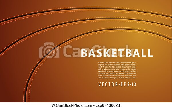 Tres tiras de costura en una pelota de baloncesto. Bola de cuero roja con sutura. - csp67436023