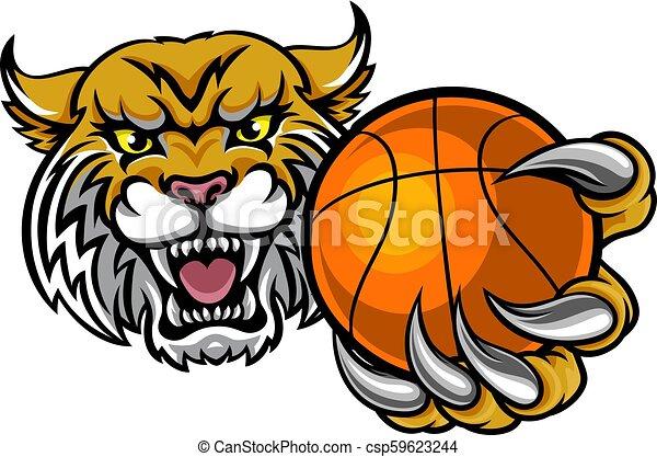 Wildcat sosteniendo la mascota de la pelota de baloncesto - csp59623244