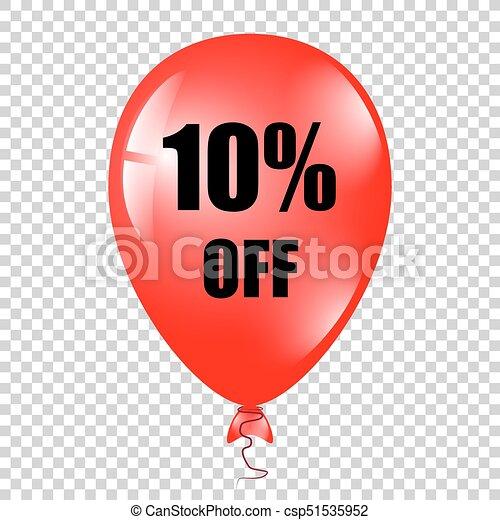 baloon, percents, 隔離された, 赤, バックグラウンド。 - csp51535952