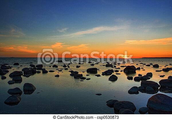 balti, pôr do sol, sea. - csp0530873