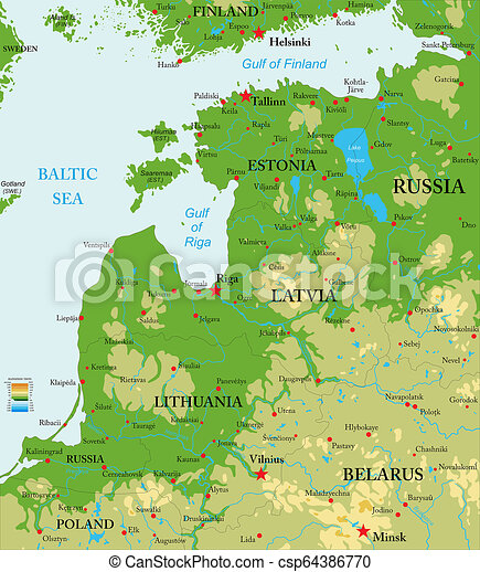Baltic countries physical map