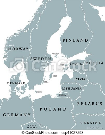 Baltic sea area countries political map with national borders ...