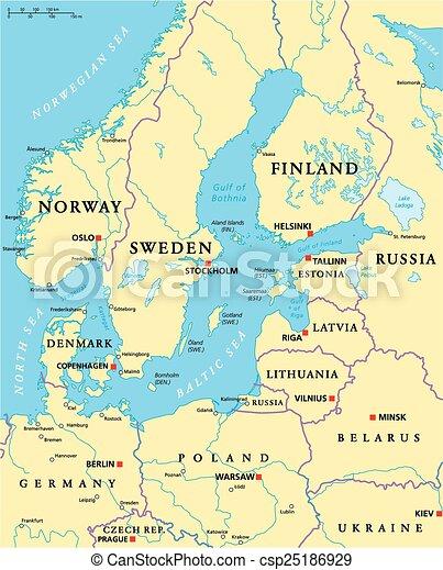 Baltic Sea Area Political Map - csp25186929