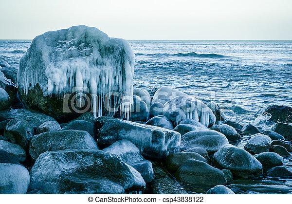 Baltic sea shore at winter - csp43838122