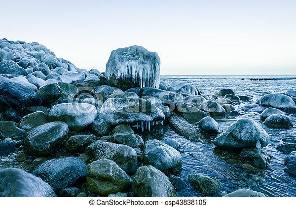 Baltic sea shore at winter - csp43838105