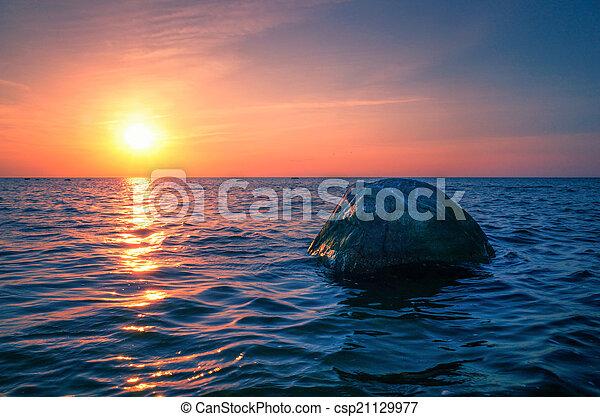 Baltic Sea sunset on the island Poel - csp21129977