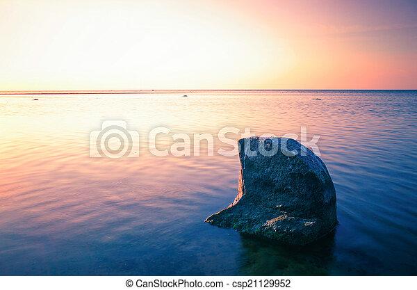 Baltic Sea sunset on the island Poel - csp21129952