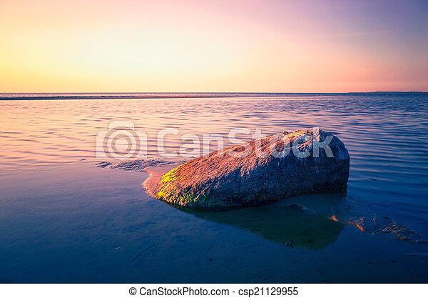 Baltic Sea sunset on the island Poel - csp21129955