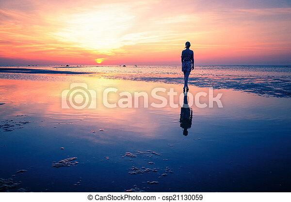 Baltic Sea sunset on the island Poel - csp21130059
