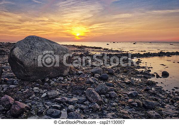 Baltic Sea sunset on the island Poel - csp21130007