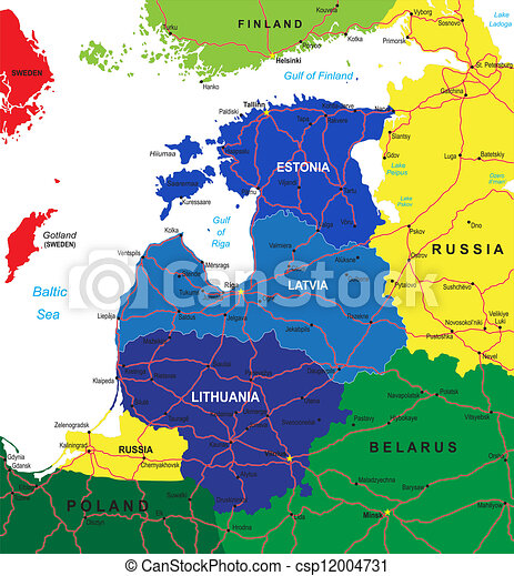 Baltic states map - csp12004731