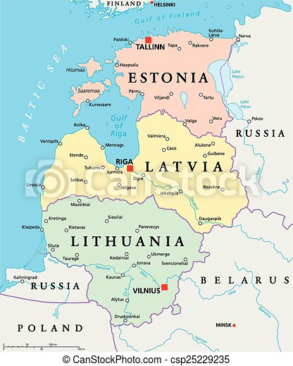 Baltic states political map. estonia, latvia and lithuania with ...