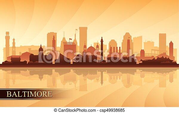 Baltimore city skyline silhouette background - csp49938685