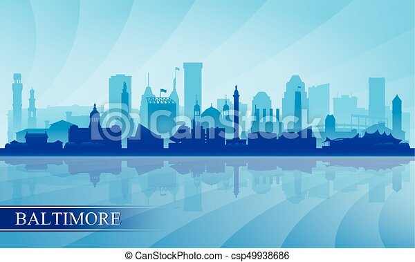 Baltimore city skyline silhouette background - csp49938686