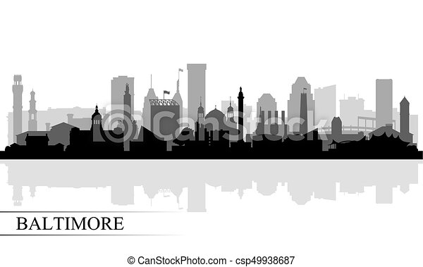 Baltimore city skyline silhouette background - csp49938687