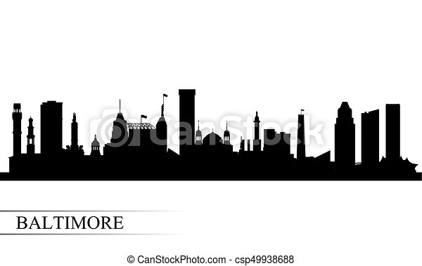 Baltimore city skyline silhouette background - csp49938688