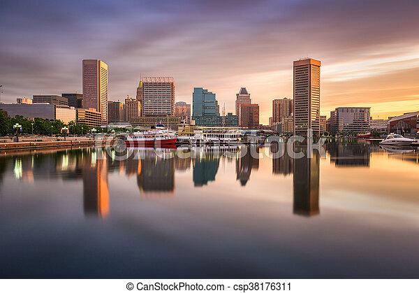 Baltimore Inner Harbor Skyline - csp38176311
