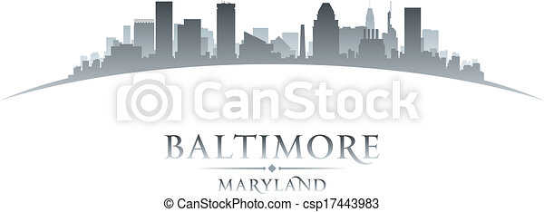 Baltimore Maryland city skyline silhouette white background  - csp17443983
