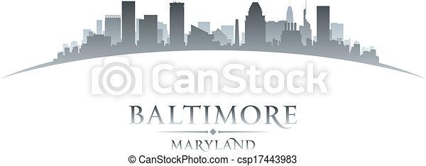 Baltimore Maryland city skyline silhouette white background  - csp17443983