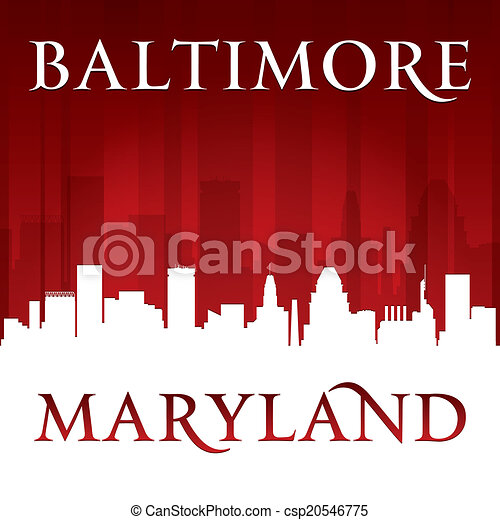 Baltimore Maryland city skyline silhouette red background  - csp20546775