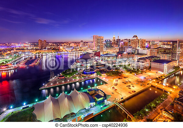 Baltimore, Maryland Inner Harbor Skyline - csp40224936