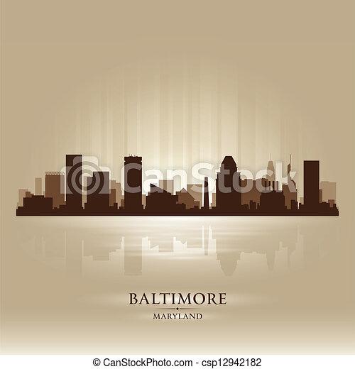 Baltimore Maryland skyline city silhouette - csp12942182