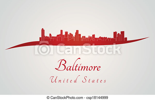 Baltimore skyline in red - csp18144999