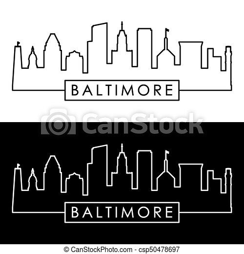 Baltimore skyline. Linear style. - csp50478697