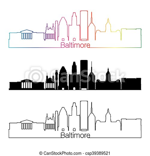 Baltimore skyline linear style with rainbow - csp39389521
