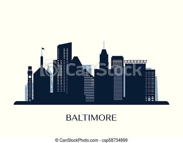 Baltimore skyline, monochrome silhouette. - csp58734899
