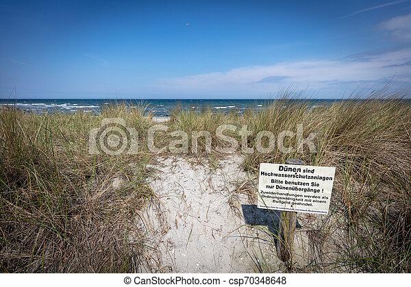 baltisch, warnung, steht, düne, zeichen - csp70348648
