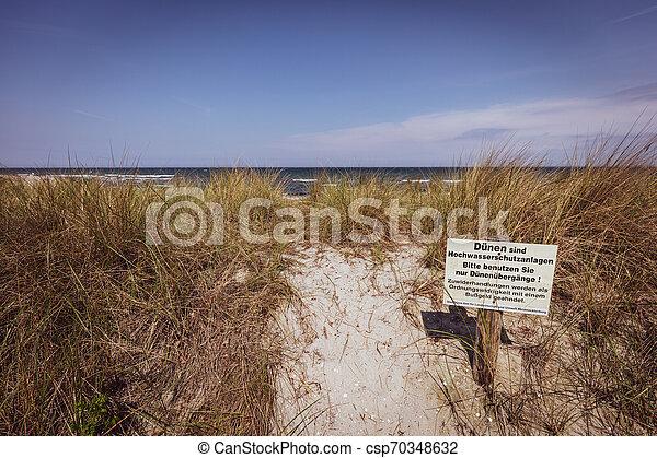 baltisch, warnung, steht, düne, zeichen - csp70348632