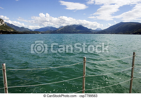 Balustrade and views of Lake Annecy - csp7799563