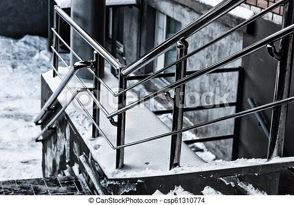 balustrade métal, escalier, étapes - csp61310774
