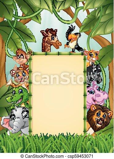 bambù, vuoto, animali, segno - csp59453071