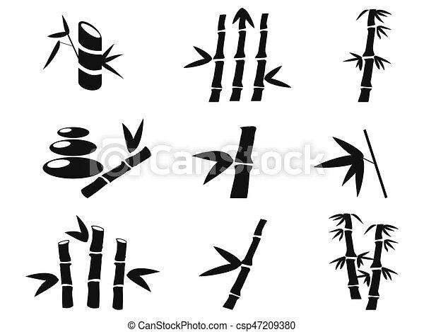 iconos de bambú negros - csp47209380