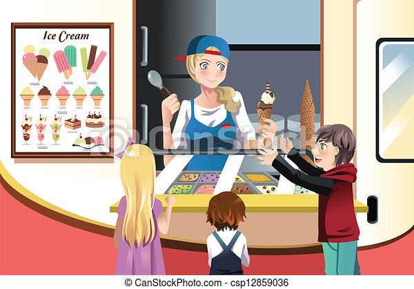 bambini, acquisto, gelato - csp12859036